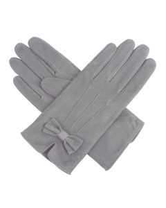 Kitty - Silk Lined Suede Leather Gloves with Bow