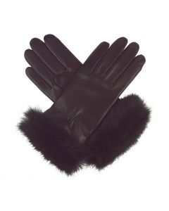 Sasha - Cashmere Lined Leather Gloves with Fur Cuff