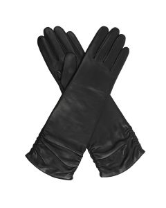 Audrey - Wool Lined Ruched Leather Gloves