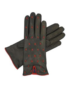Christine - Cashmere Lined Leather Glove with Leather Decor
