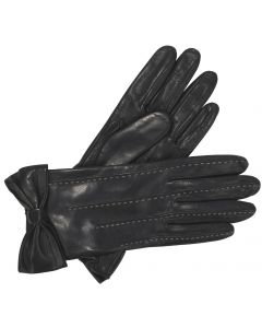 Ella - Silk Lined Leather Gloves with Bow