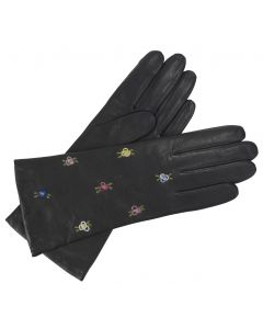 Flora - Cashmere Lined Embroidered Leather Gloves