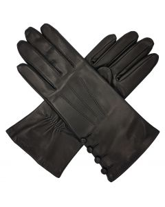 Kate - Silk Lined Leather Gloves with Buttons