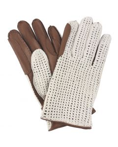 Womens Unlined Leather Crochet Backed Riding Gloves