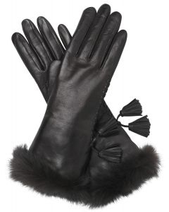 Vita - Pashmina Lined Leather Gloves with Fur Trim