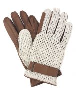 Mens Unlined Leather Crochet Backed Riding Gloves